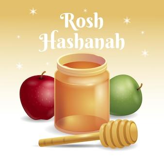 Realistische rosh hashanah mit apfel und honig