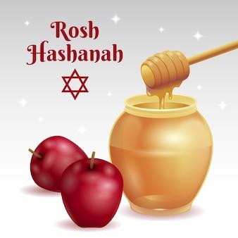 Realistische rosh hashanah mit honig und apfel