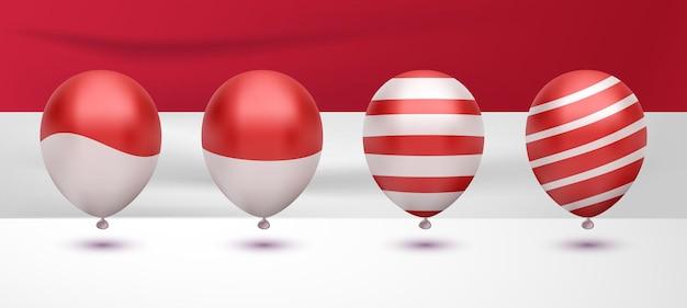 Realistische rot-weiße ballonflagge für den indonesischen unabhängigkeitstag