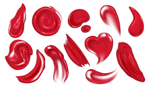 Realistische rote acrylfarbe verschmiert oder tropft