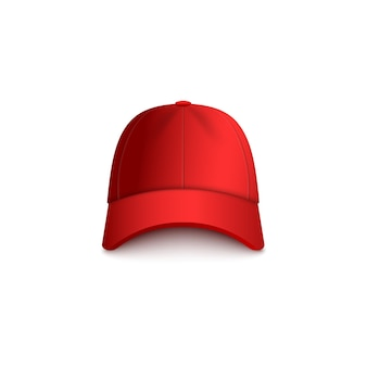 Realistische rote baseballkappe
