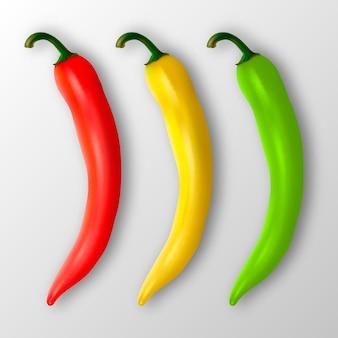 Realistische rote gelbe und grüne heiße natürliche chilischote-icon-set-nahaufnahme isoliert
