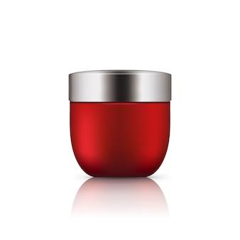 Realistische rote glasflasche mit silberner kappe.