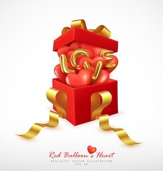 Realistische rote luftballons herz- und buchstabenliebe springen von der geschenkbox ab