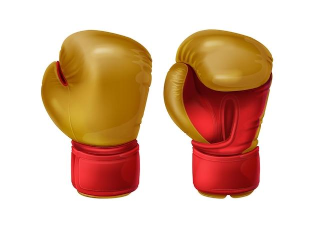 Realistische rote paar boxhandschuhe aus leder. sportausrüstung zum schutz der hände im faustkampf. boxersportbekleidung für schlagtraining, stoßfestes sparring, kampf oder training am boxsack.