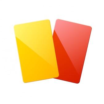 Realistische rote rote gelbe karten des schiedsrichters. sportwettkämpfe.