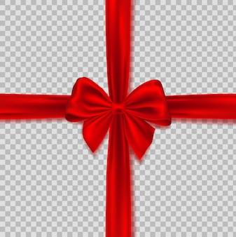 Realistische rote schleife mit band. realistischer roter bogen lokalisiert auf transparentem hintergrund