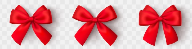 Realistische rote schleife. rotes satinband.
