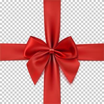 Realistische rote schleife und band lokalisiert auf transparentem hintergrund. vorlage für grußkarte, broschüre oder poster.
