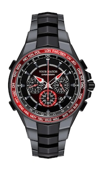 Realistische rote schwarze stahluhruhr-chronographenentwurfsmode für die luxuseleganz der männer auf weißer hintergrundillustration.