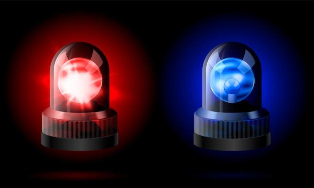 Realistische rote und blaue blinkersirene.