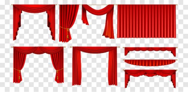 Realistische rote vorhänge setzen dekorieren elemente sammlung
