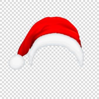 Realistische rote weihnachtsmannhutikone lokalisiert auf transparenzgitterhintergrund.