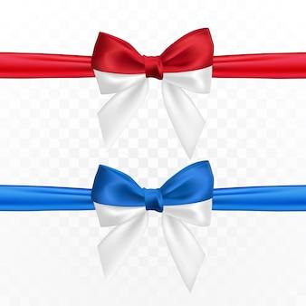 Realistische rotweiße und blauweiße schleife. element für dekorationsgeschenke, grüße, feiertage.