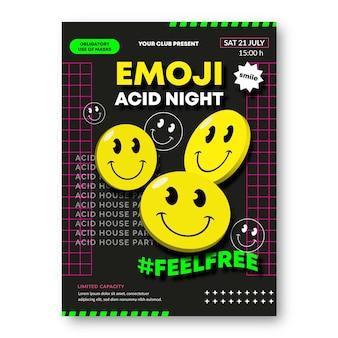 Realistische säure-emoji-plakatschablone