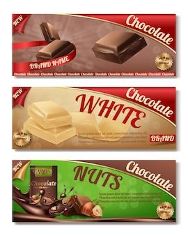 Realistische sammlung 3d schokoladenverpackung. horizontale etiketten von leckeren produkten mit nüssen