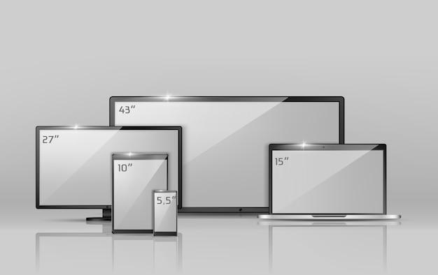 Realistische sammlung 3d verschiedene bildschirme - notizbuch, smartphone oder tablette.