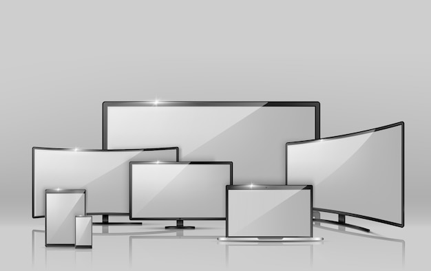 Realistische sammlung 3d verschiedener bildschirme