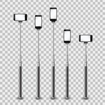 Realistische sammlung von einbeinstativen mit telefon auf dem transparenten hintergrund.