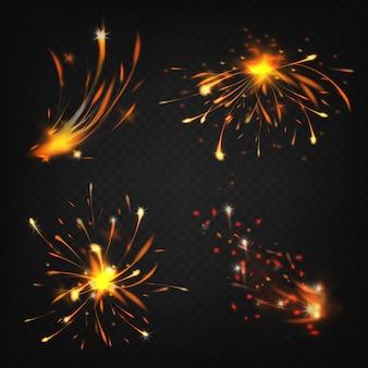 Realistische sammlung von feuerwerkskörpern, funken beim schweißen oder schneiden von metall.