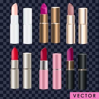 Realistische sammlung von lippenstift 3d