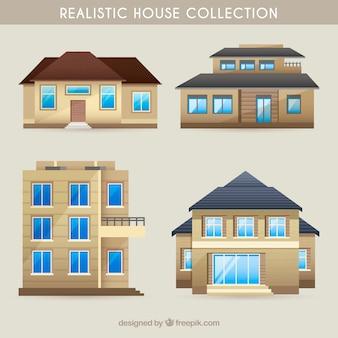 Realistische sammlung von modernen häusern