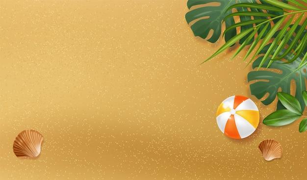 Realistische sandbeschaffenheit, meereshintergrund, tropischer fahnenstrand, tropische blätter, ball- und sommerelementillustration, draufsichtfahne mit sand