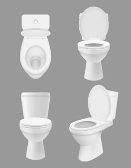Realistische saubere toilette. weiße schüsseln im badezimmer oder im waschraum verschiedene ansichten des abschlusses herauf toilette. hygienebilder