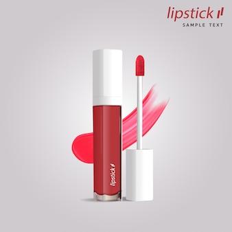 Realistische schablonenverpackung des lippenstiftrohrs 3d.