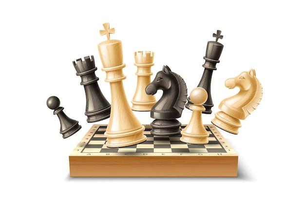 Realistische schachfiguren und schachbrettset