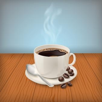 Realistische schale mit schwarzem klassischem espresso auf dem tisch