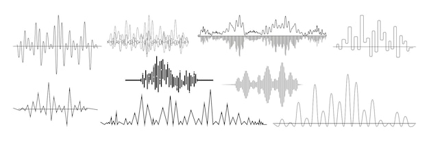 Realistische schallwellen eingestellt. sammlung von audio-radio-musiksignalen mit unterschiedlichen frequenzen. illustration von digitalen equalizer-technologien und pulsierenden linien oder sprachaufzeichnungen schlägt vibrationsmodell.
