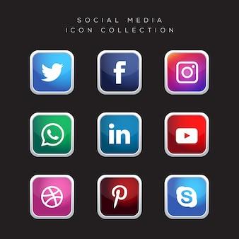 Realistische schaltflächen mit social media logo collection