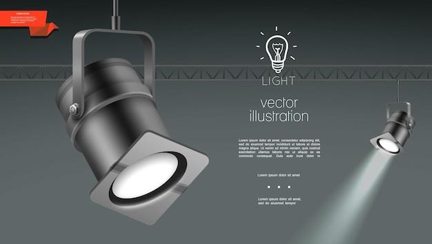 Realistische scheinwerfer für bühnenbeleuchtungsschablone mit hängenden leuchtenden projektoren auf grau