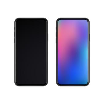 Realistische schlanke schwarze smartphones mit display aus und display an.