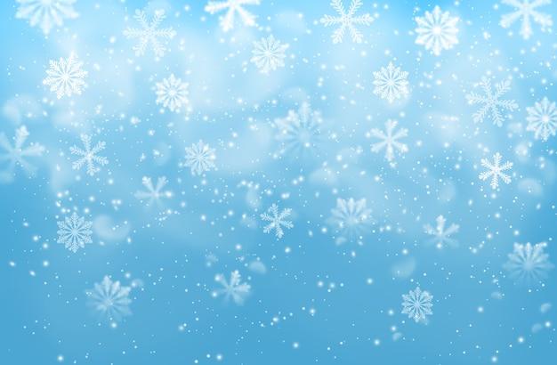 Realistische schneeflocken auf blauem hintergrund mit dampf