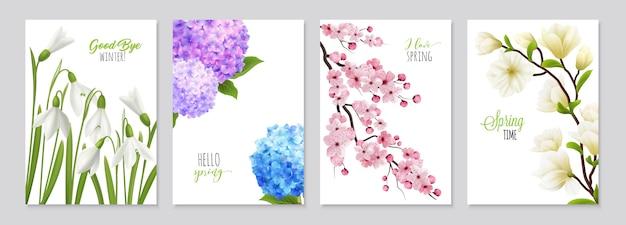 Realistische schneeglöckchenblumenfahnen stellten die aufmachung von vier blumenhintergründen mit realistischen bildern von flowerage und von textillustration ein