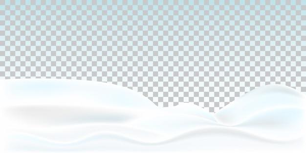 Realistische schneewehe auf transparentem hintergrund isoliert. verschneite landschaft.