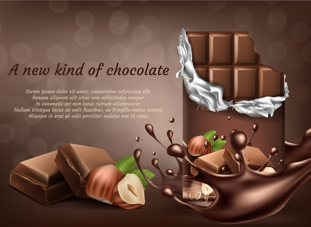 Realistische schokolade 3d mit haselnussanzeigenplakat, fahne mit den flüssigen spritzenden tropfen.