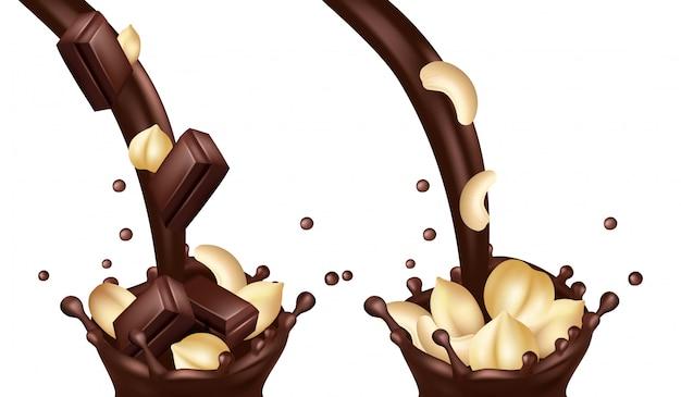 Realistische schokolade fließt mit nüssen und riegeln