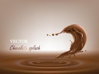 Realistische schokolade splash-vektor-illustration