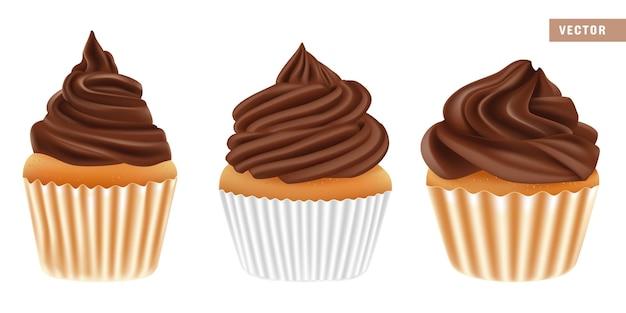 Realistische schokoladencupcakes lokalisiert auf weiß