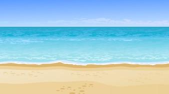 Realistische schöne Aussicht auf das Meer. Sommerferien-Konzept.