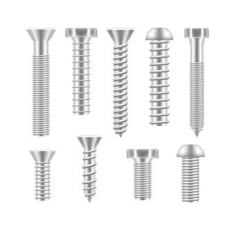 Realistische schraube icon set verschiedene formen detaillierte bau hardware ausrüstung edelstahl metallisches befestigungselement. vektor-illustration