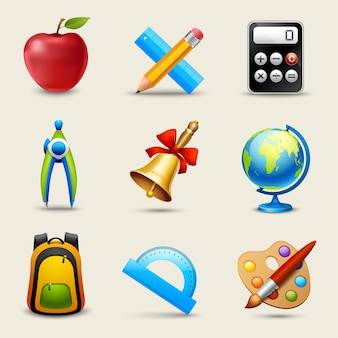 Realistische schule icons set Premium Vektoren