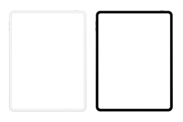 Realistische schwarz-weiß-version des soft pro-tablets mit leerem bildschirm