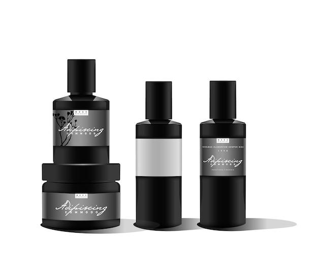 Realistische schwarze flasche. behälter für parfüm, creme, puder oder gel. etikettenaufkleber.