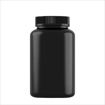 Realistische schwarze flaschen für drogen, die auf weiß isoliert werden