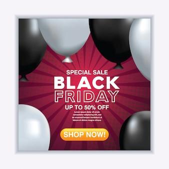 Realistische schwarze freitag-verkaufsfahne mit ballonen