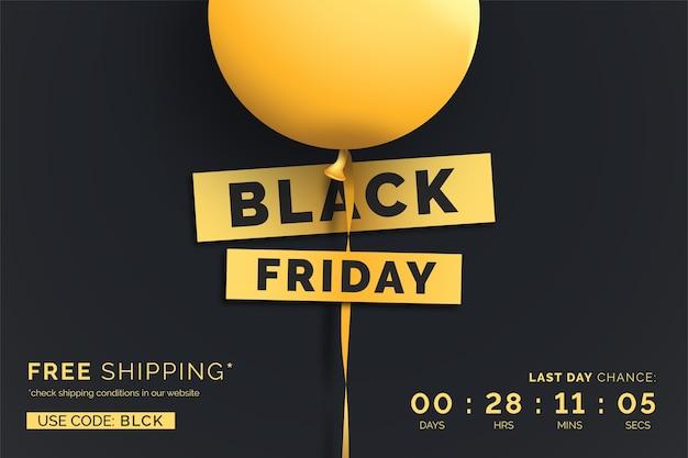 Realistische schwarze freitag-verkaufsfahne mit gelbem ballon